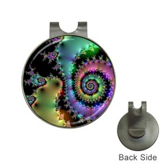 Satin Rainbow, Spiral Curves Through The Cosmos Hat Clip With Golf Ball Marker by DianeClancy