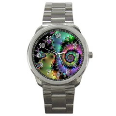 Satin Rainbow, Spiral Curves Through The Cosmos Sport Metal Watch by DianeClancy