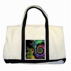 Satin Rainbow, Spiral Curves Through The Cosmos Two Toned Tote Bag by DianeClancy