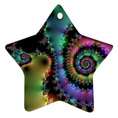 Satin Rainbow, Spiral Curves Through The Cosmos Star Ornament (two Sides) by DianeClancy