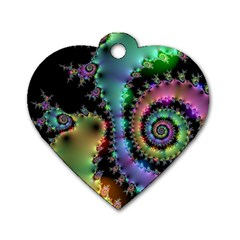Satin Rainbow, Spiral Curves Through The Cosmos Dog Tag Heart (one Sided)  by DianeClancy