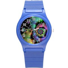 Satin Rainbow, Spiral Curves Through The Cosmos Plastic Sport Watch (small) by DianeClancy