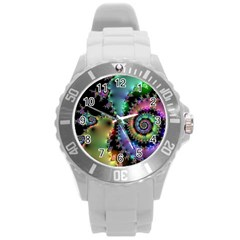 Satin Rainbow, Spiral Curves Through The Cosmos Plastic Sport Watch (large) by DianeClancy