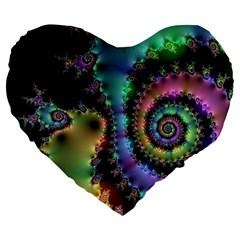 Satin Rainbow, Spiral Curves Through The Cosmos 19  Premium Heart Shape Cushion by DianeClancy