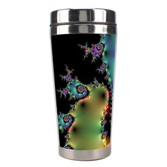 Satin Rainbow, Spiral Curves Through The Cosmos Stainless Steel Travel Tumbler by DianeClancy