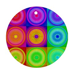 Retro Circles Round Ornament (two Sides) by SaraThePixelPixie