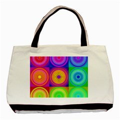 Retro Circles Twin Sided Black Tote Bag