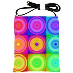 Retro Circles Shoulder Sling Bag by SaraThePixelPixie