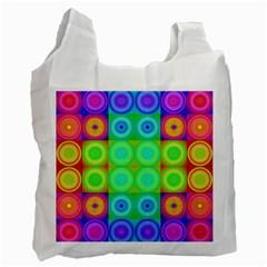 Rainbow Circles White Reusable Bag (two Sides) by SaraThePixelPixie