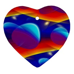 Planet Something Heart Ornament (two Sides) by SaraThePixelPixie
