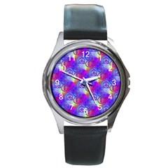 Rainbow Led Zeppelin Symbols Round Leather Watch (silver Rim)