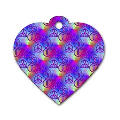 Rainbow Led Zeppelin Symbols Dog Tag Heart (one Sided)  by SaraThePixelPixie