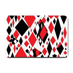 Distorted Diamonds In Black & Red Small Door Mat by StuffOrSomething