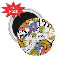 Floral Fantasy 2 25  Button Magnet (10 Pack) by R1111B