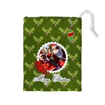 Drawstring Pouch: (L) Merry Christmas2 - Drawstring Pouch (Large)