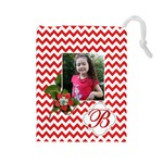 Drawstring Pouch (L): Chevron Red - Drawstring Pouch (Large)