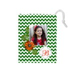 Drawstring Pouch (M): Chevron Green - Drawstring Pouch (Medium)