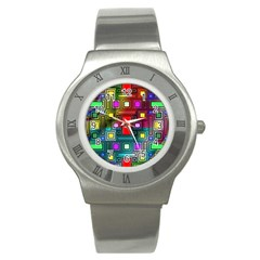 Abstract Modern Stainless Steel Watch (slim) by StuffOrSomething