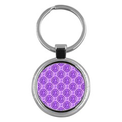 Purple And White Swirls Background Key Chain (round) by Colorfulart23