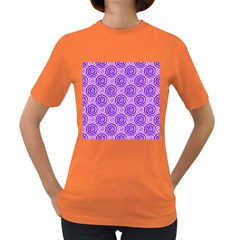 Purple And White Swirls Background Women s T Shirt (colored) by Colorfulart23
