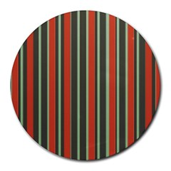 Festive Stripe 8  Mouse Pad (round) by Colorfulart23
