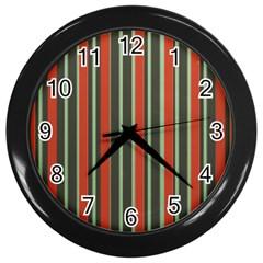 Festive Stripe Wall Clock (black) by Colorfulart23