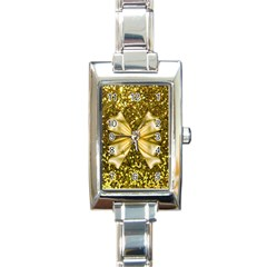 Golden Sequins And Bow Rectangular Italian Charm Watch by ElenaIndolfiStyle