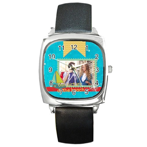 Summer By Summer Time    Square Metal Watch   Egvs713wf0lf   Www Artscow Com Front