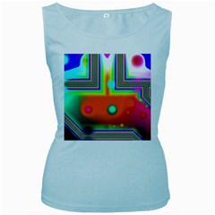 Crossroads Of Awakening, Abstract Rainbow Doorway  Women s Tank Top (Baby Blue) by DianeClancy