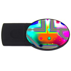 Crossroads Of Awakening, Abstract Rainbow Doorway  2gb Usb Flash Drive (oval) by DianeClancy