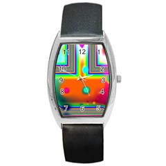 Crossroads Of Awakening, Abstract Rainbow Doorway  Tonneau Leather Watch by DianeClancy