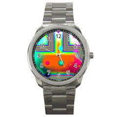 Crossroads Of Awakening, Abstract Rainbow Doorway  Sport Metal Watch by DianeClancy