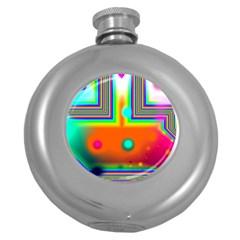 Crossroads Of Awakening, Abstract Rainbow Doorway  Hip Flask (round) by DianeClancy