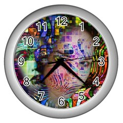Artistic Confusion Of Brain Fog Wall Clock (silver) by FunWithFibro