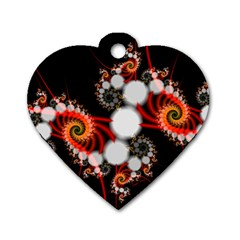 Mysterious Dance In Orange, Gold, White In Joy Dog Tag Heart (two Sided) by DianeClancy