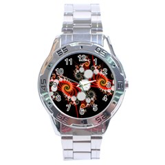 Mysterious Dance In Orange, Gold, White In Joy Stainless Steel Watch