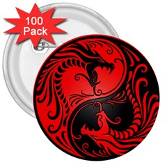 Yin Yang Dragons Red And Black 3  Button (100 Pack) by JeffBartels