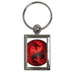 Yin Yang Dragons Red And Black Key Chain (rectangle) by JeffBartels