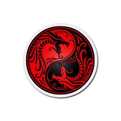 Yin Yang Dragons Red And Black Drink Coaster (round) by JeffBartels