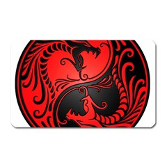 Yin Yang Dragons Red And Black Magnet (rectangular) by JeffBartels