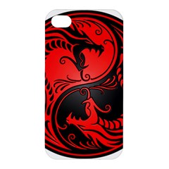 Yin Yang Dragons Red And Black Apple Iphone 4/4s Premium Hardshell Case by JeffBartels