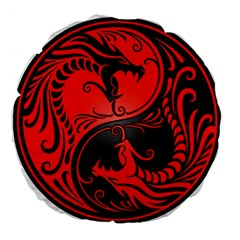 Yin Yang Dragons Red And Black 18  Premium Round Cushion  by JeffBartels