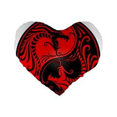 Yin Yang Dragons Red And Black 16  Premium Heart Shape Cushion  by JeffBartels