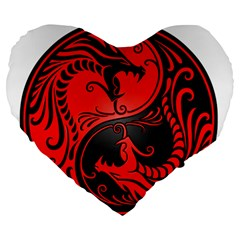 Yin Yang Dragons Red And Black 19  Premium Heart Shape Cushion by JeffBartels
