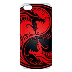 Yin Yang Dragons Red And Black Apple Iphone 5 Premium Hardshell Case by JeffBartels