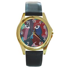 Abstract God Pastel Round Leather Watch (gold Rim)  by AlfredFoxArt