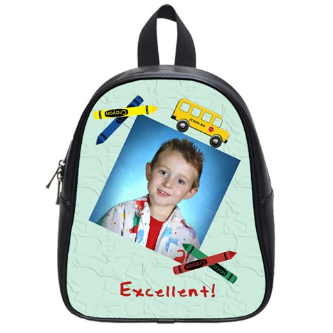 Crayons And Bus School Backpack Small By Chere s Creations   School Bag (small)   Qjklfr1jsl6r   Www Artscow Com Front