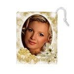Gold Merry Christmas Drawstring Pouch (large)