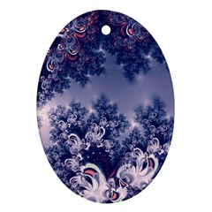 Pink And Blue Morning Frost Fractal Oval Ornament by Artist4God