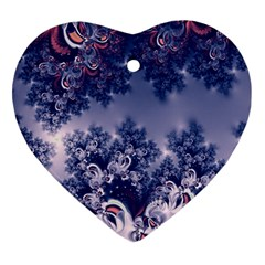 Pink And Blue Morning Frost Fractal Heart Ornament by Artist4God
